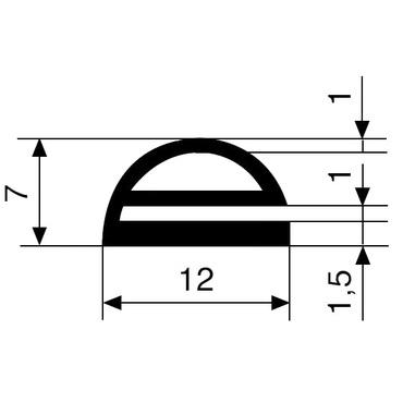 E-profile EPDM solid rubber 65 grey 3415 L=40m