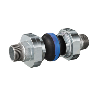 Compensator type 46 blue steel, Butyl with nylon cord for water 10 bar, cast iron 3-piece connection male thread