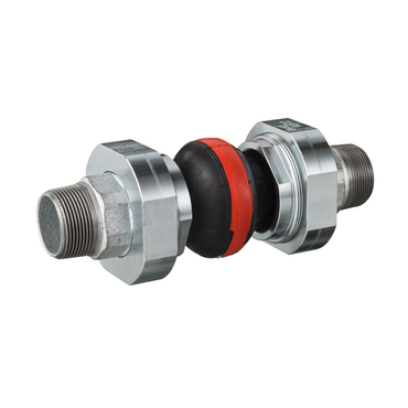Compensator type 46 red, EPDM with nylon cord for cold water 16 bar, cast iron 3-piece connection male thread