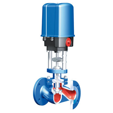 Control valve two way fig. 2831 cast iron/PTFE electric equal percentage Kvs 0.63 Premio-Plus 2.2 90-264V AC PN16 DN15