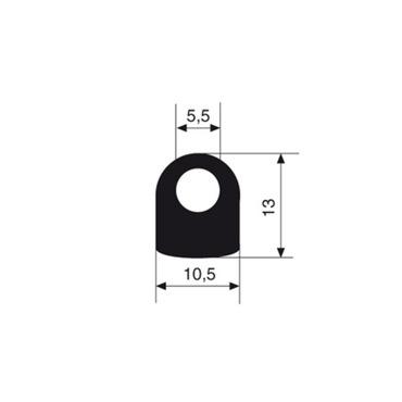 Profile EPDM solid rubber 65 black 3004