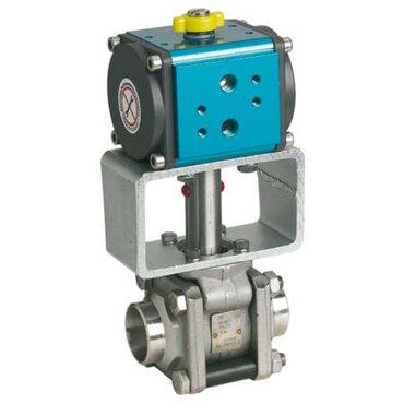 Kugelhahn Fig. 3360 Edelstahl pneumatisch gesteuert doppeltwirkend Stumpfschweißende ISO1127-1