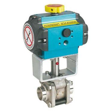 Kugelhahn Fig. 3360 Edelstahl pneumatisch gesteuert einfachwirkend Stumpfschweißende ISO1127-1
