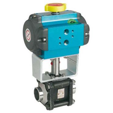 Kugelhahn Fig. 3462 Stahl pneumatisch gesteuert doppeltwirkend Stumpfschweißende ISO1127-1