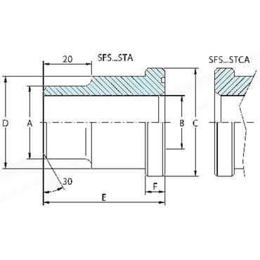 SAE flens lasadapter voor BSP buis SFS