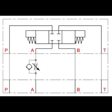 CETOP tussenflensbare toevoersmoring/terugslagklep in A serie DGMFN