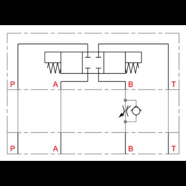 CETOP tussenflensbare afvoersmoring/terugslagklep in B serie DGMFN