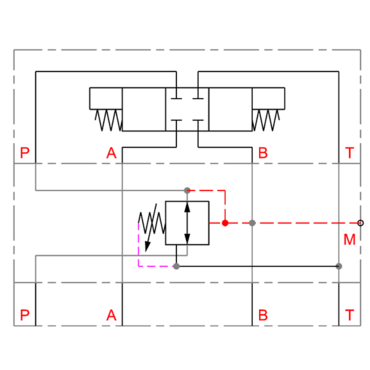 Pressure reducing valve in B
