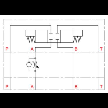 Cetop Zwischenplatte Drossel/Rückschlagventil  in A