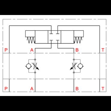 CETOP tussenflensbare toevoersmoring/terugslagklep in A + B serie DGMFN