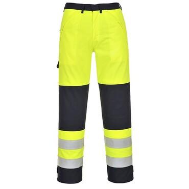 Portwest FR62 jaune//marine Hi-Vis Flamme /& Résistant Aux Produits Chimiques Pantalon multi-Norm