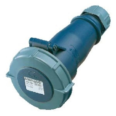 Blue AM-TOP® Plug with Cable Gland 2P+E (6H) IP44 16A 230V