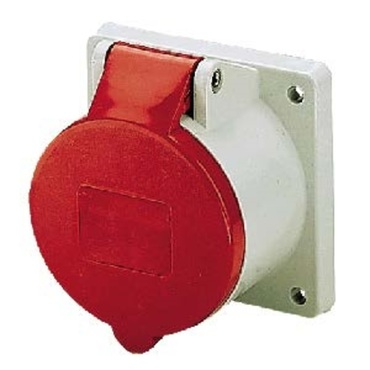 20° Angled Panel Mounted Receptacle 2P+E (4H) IP44 Flange 73.5mm x 64mm 16A 110V