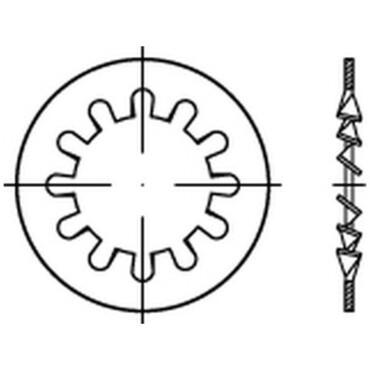 DIN6797J Vlakke tandveerring met open binnenvertanding Veerstaal