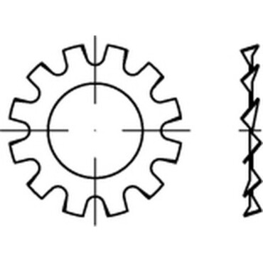 Tandveerring Open buitenvertanding DIN 6797 M10 Verenstaal  Elektrolytisch verzinkt