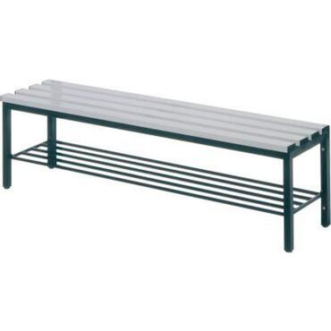 Free-standing bench seat with light grey plastic slats
