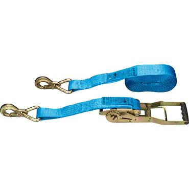 Long lever ratchet lashing strap with two triangular carabiner hooks