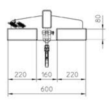 Lastarm kanteling 25G, tel 125-1000kg, lak.