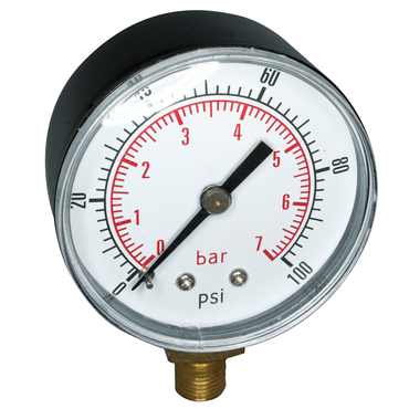 "Process gauge painted black steel 50mm R1/8"" bottom entry 0-10bar"