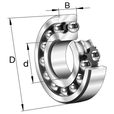 Double row self-aligning ball bearing with cylindrical bore