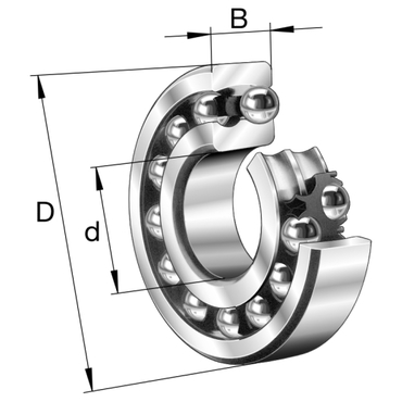 Double row self-aligning ball bearing with tapered bore