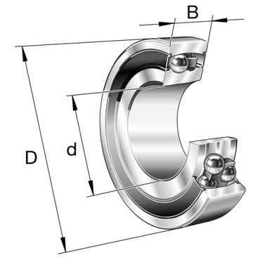 Sealed double row self-aligning ball bearing with tapered bore