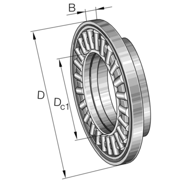 Axial needle roller bearing with a centring spigot AXW35