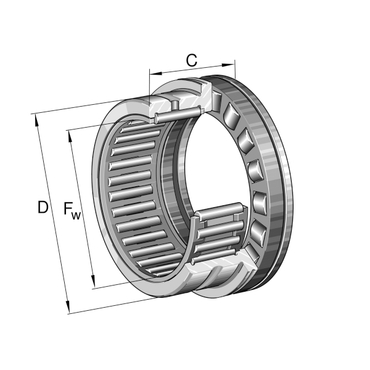 Needle roller/axial cylindrical roller bearing single direction without end cap NKXR45-XL
