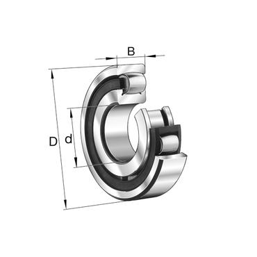 Eenrijig tonlager met cilindrische boring