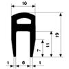 H-profiel CR volrubber 55 wit 0652