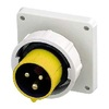Yellow Panel Mounted Inlet 2P+E (4H) IP67 16A 110V