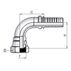 Hose coupling, female BSP thread swiveling - 90° curved (rolled nut) SBS9