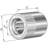 Drawn cup roller clutch with bearing arrangement with steel springs knurled HFL0615-R-L564