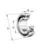 Sealed double row self-aligning ball bearing with cylindrical bore