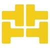 T-förmige Ecken gelb, gestanzt