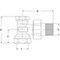 Radiatorvoetventiel fig. 2454 messing haaks staartstuk/binnendraad