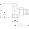 Radiatorvoetventiel fig. 3550 messing haaks staartstuk/binnendraad