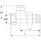 Radiatorvoetventiel fig. 3555 messing staartstuk/binnendraad